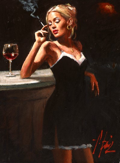 English Rose IX by Fabian Perez - Original Painting on Stretched Canvas